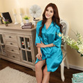 New Arrival Summer Silk Home Sleepwear For Women 2017 Above Knee Mini Lace Women Nightgown For Sleep Lounge 12Colors Indoor Love