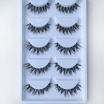 YOKPN New Natural Cross False Eyelashes Transparent Stems Soft Fake Lashes Handmade Eyelashes Extension Makeup Tools 5 Pairs