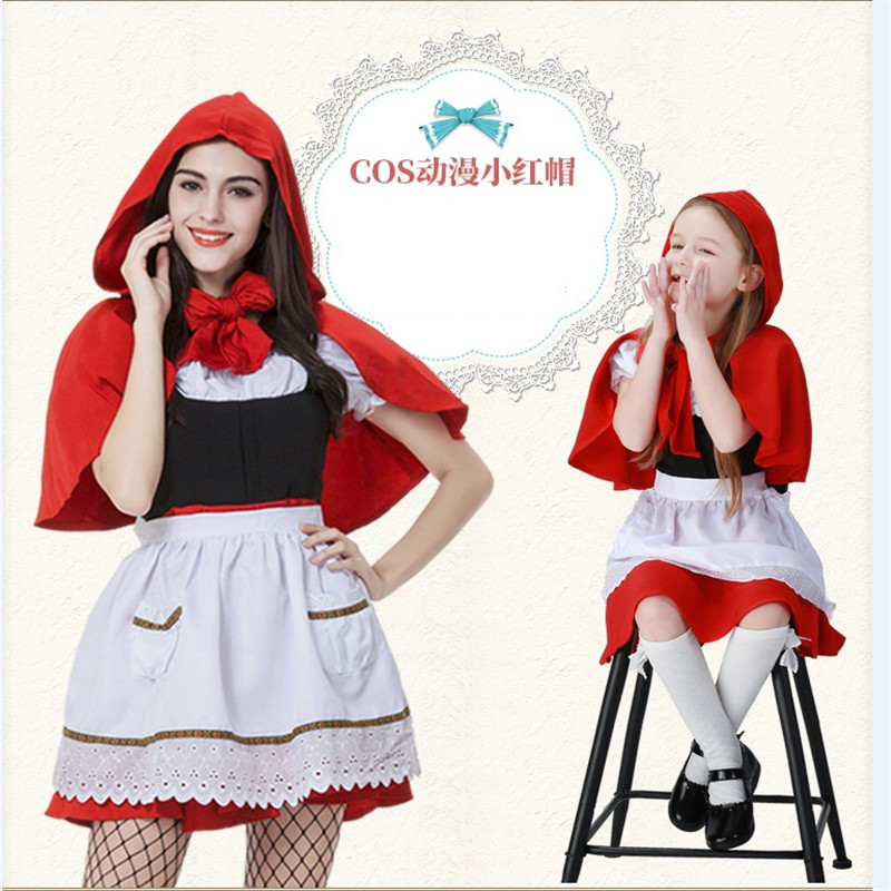 New Little Red Riding Hood Costume Cosplay Adult Children Girl Game Uniform Women Halloween Carnival Party Fancy Dress