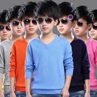 Mode garçons chandail à tricoter modèle printemps 2018 enfants pulls hauts coton enfants vêtements d'extérieur couleur Pure chandail 4-16Y