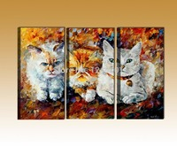 3 Panels Modern Oil Painting On Canvas Three Cats Wall Art Animal Canvas Painting For Living