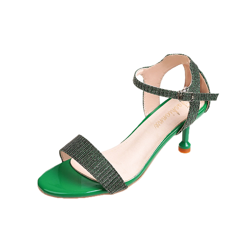Summer Women Sandals Open Toe Shoes Womens Sandles Fine Heel Women Shoes Korean Style Gladiator Shoes Silver Black Green