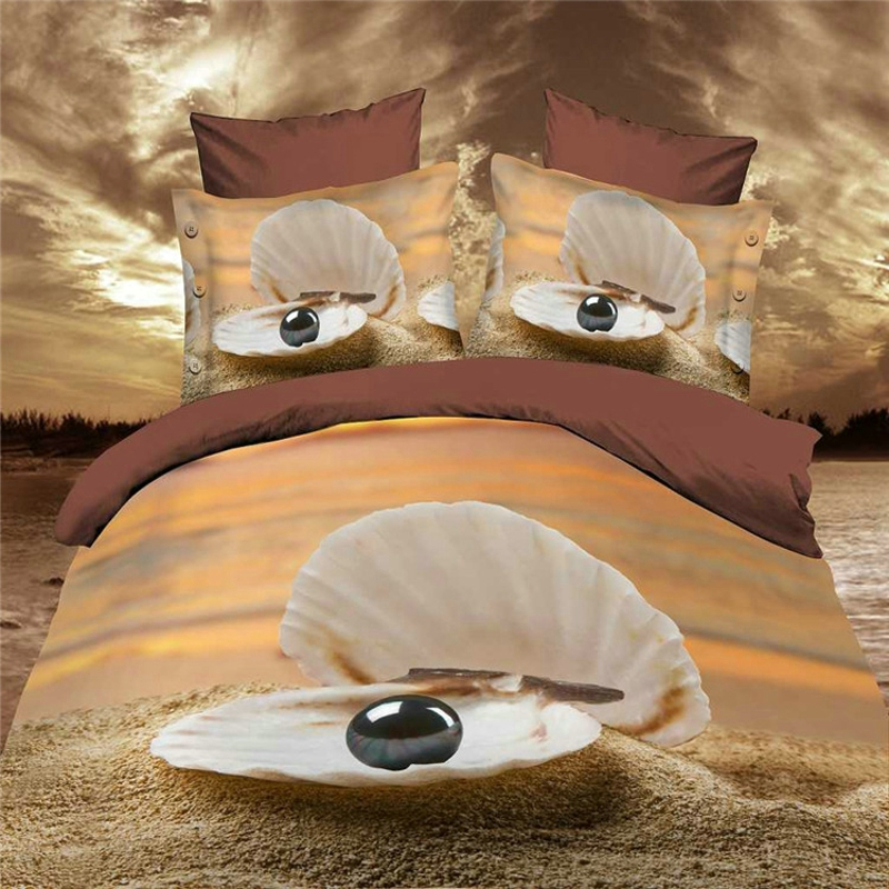 reactive 3d ocean cot bedding set duvet/doona cover bed sheet pillow cases 4pcs queen size velvety bedclothes