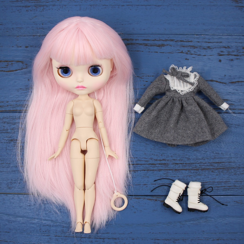 Factory blyth doll bjd joint body white skin new faceplate matte face BL2352 pale pink hair