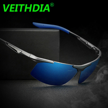 VEITHDIA Brand Original Aluminum Magnesium Alloy Men Coating Mirror Eyewear Glasses Polarized Sunglasses For Men 6562 with Box