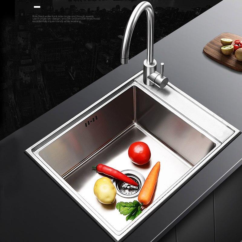 Lavabo cuisine évier lavabo simple bassin robinet ménage 304 en acier inoxydable bol unique avec robinet 2019 nouveau