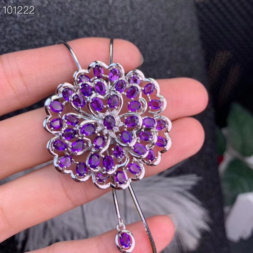 Natural amethyst brooch S925 silver Natural purple crystal  brooch Pendant trendy big Riches Flower women party two wear jewelryNatural amethyst brooch S925 silver Natural purple crystal  brooch Pendant trendy big Riches Flower women party two wear jewelry