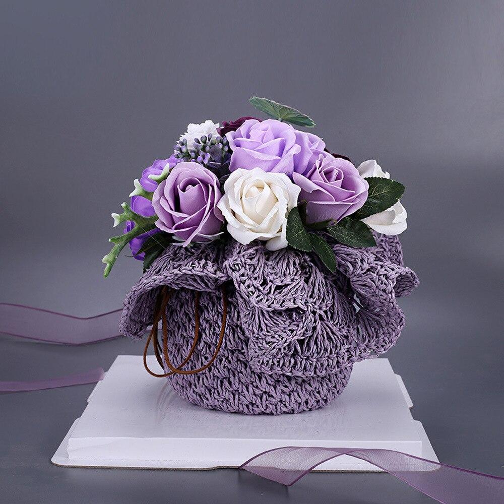 Romantic Purple Soap Flower Bouquet Gift Box Christmas Eve