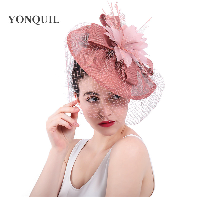 2018 New Arrival Bridal Wedding Hair Fascinators Hat Veil With Feather Flower Hair Clips Women Party Married Race Headwear SYF31
