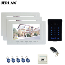 """JERUAN 7 """"Sistema de Intercomunicación Teléfono Video de La Puerta de Vídeo 3 nuevo monitor Táctil RFID A Prueba de agua Cámara de La llave + Remoto de control Abierto"""