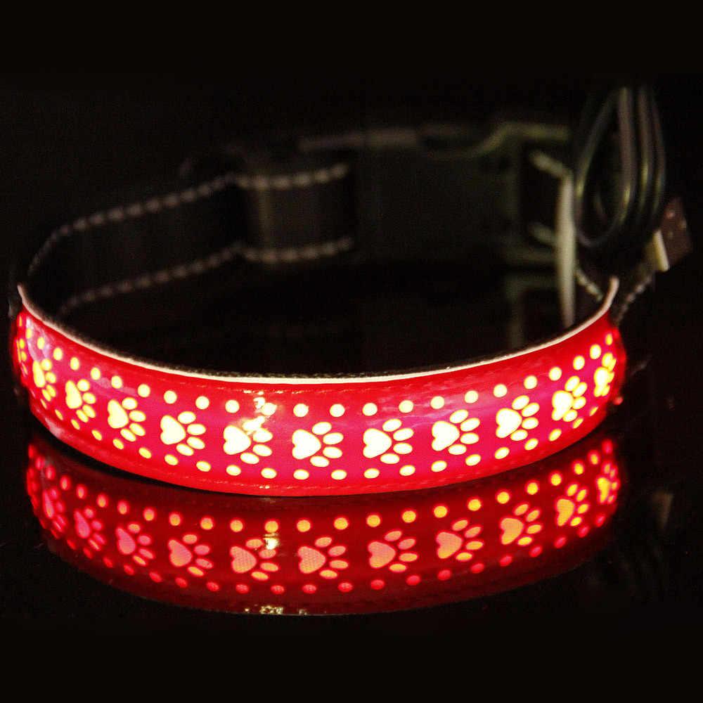 Pet collare di cane imbracature di notte di sicurezza lampeggiante LED Dog Pet Regolabile Luminosa USB Ricaricabile Luce di Sicurezza Up In Pelle Tag