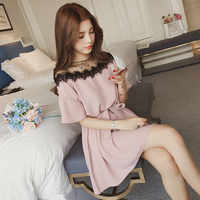 4xl plus big size women clothing 2018 spring summer style korean new mesh stitch pink black cute sweet party dress female A4299