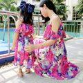 Novo 2016 Moda ptint vestido mãe e filha vestidos de mãe e filha roupas família correspondência adequada olhar
