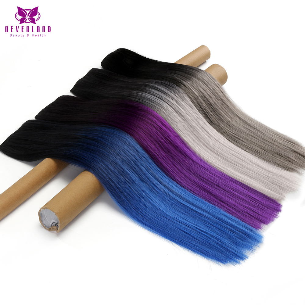 Neverland Straight 24 60cm 5 Clips Heat Resistan Grey Blue Purple Ombre Synthetic Hairpiece Clip In
