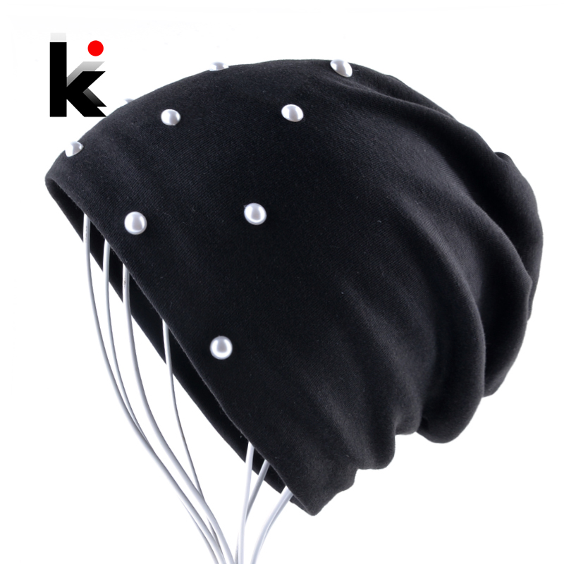 Spring And Autumn   Beanie   Hats For Women Fashion Handmade Pearls Bonnet Caps Female Head Accessories Solid Color   Skullies     Beanies