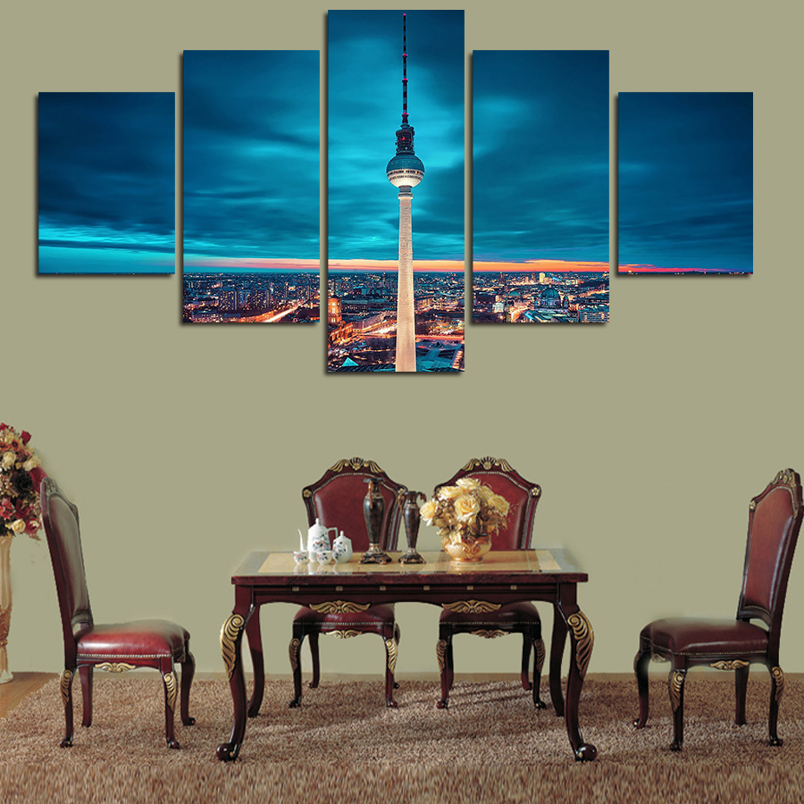 2016 High Quality 5 Pcs Urban Night Scene And Transmission Tower Art Hd Picture Canvas Print Oil Painting Wall Home Decorative