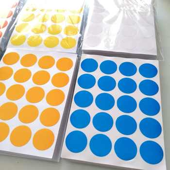 24000 pcs/lot Diameter 20mm Colorful round paper sticker, white/yellow/red/green/blue/orange, Item No.OF23