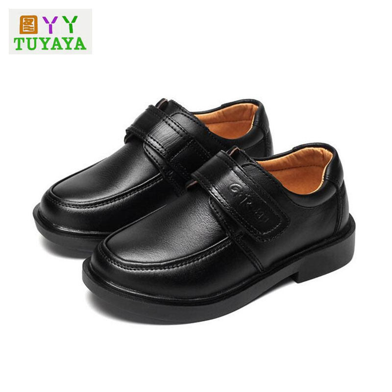 Children Leather Shoes Boys Boys Dress Shoes 2018 New Black Genuine Leather Non-Slip School Shoes Kids Flats Footwear