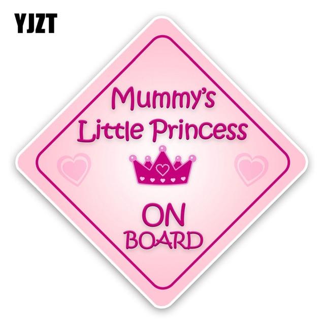 YJZT 13,5*13,5 CM interesante momia pequeña princesa bebé a bordo Ventana de parachoques de alta calidad color coche pegatina gráfica c1-5696