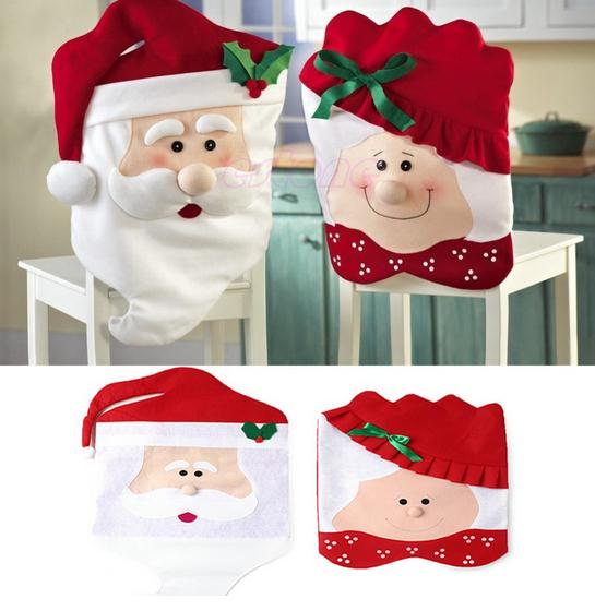 Free Shipping Christmas Decorations 1Pair Lovely Mr & Mrs Santa Claus Christmas Dining Room Chair Cover Home Party Decor