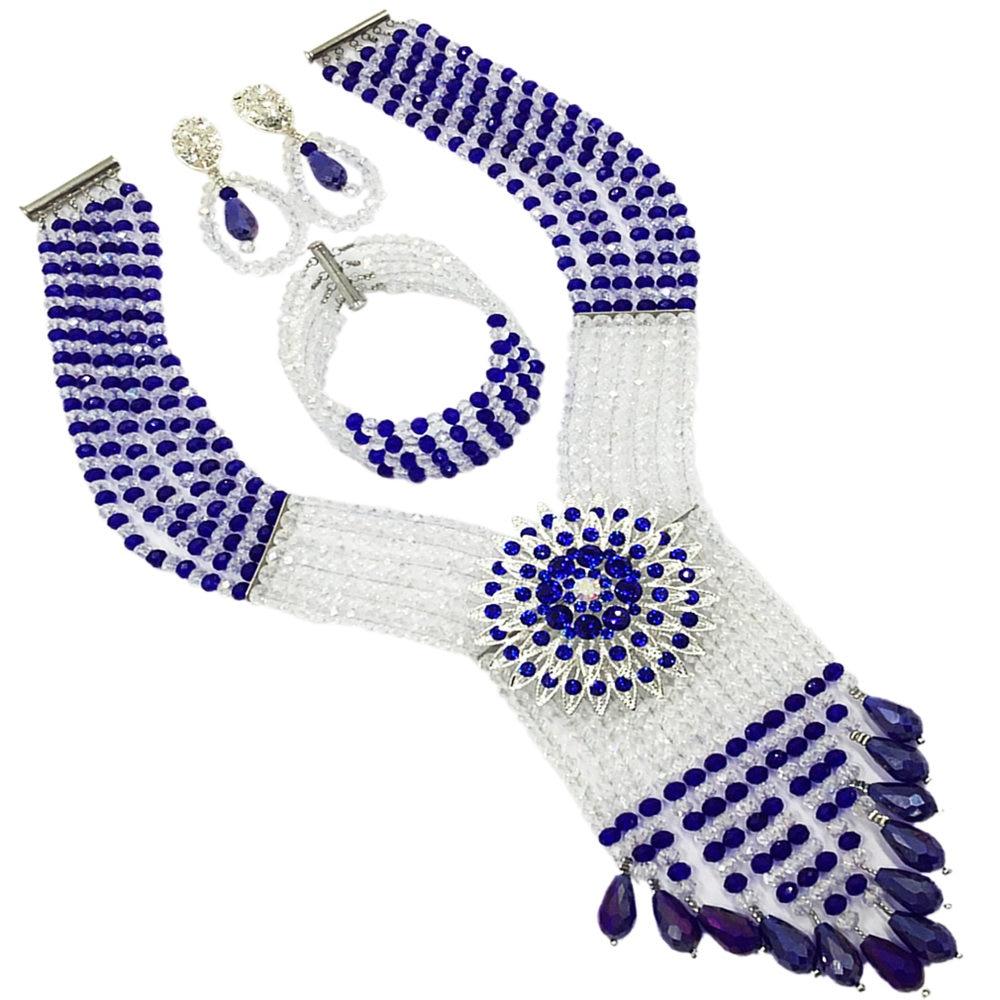 Fashion Clear AB Royal Blue Women Stylish Crystal Beads Jewelry Accessories Nigerian wedding african beads jewelry set ABD011Fashion Clear AB Royal Blue Women Stylish Crystal Beads Jewelry Accessories Nigerian wedding african beads jewelry set ABD011