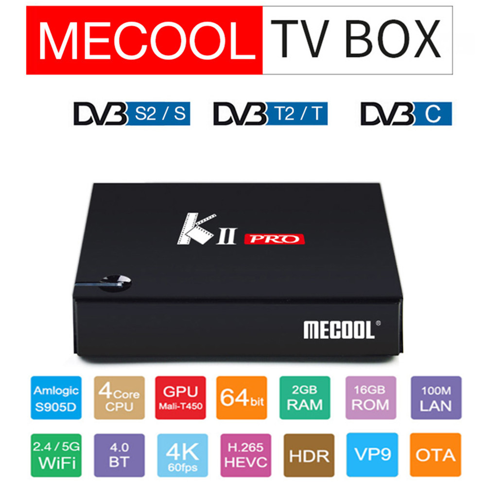 MECOOL KII PRO Android 7.1 TV Box Quad Core Amlogic S905D CPU Support 2.4 / 5GHz WiFi Smart TV Box 4K H.265 BT4.0 Media Player kii pro android 5 1 1 tv box built in 2 4g