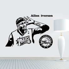 цена Basketball NBA Superstar Allen Iverson Wall Decal, Vinyl Detachable Wall Decal, Stadium Wall Decor, Home Boy Room Decor LQ27 онлайн в 2017 году