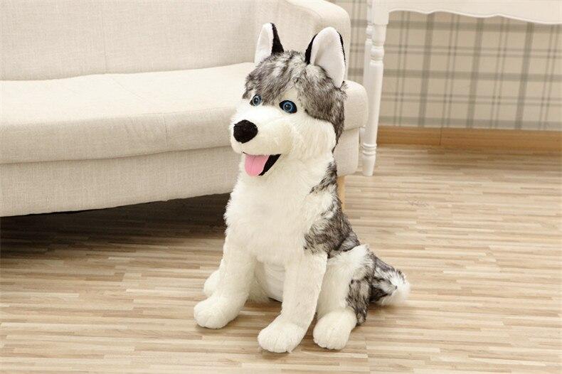 large 55cm squatting husky dog plush toythrow pillow