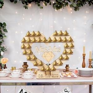 Image 3 - OurWarm DIY כפרי חתונה עץ הודעה לוח ממתק בעל כרטיס תיבת טבעת תיבת מתנות לאורחים המפלגה טובות חתונה קישוט