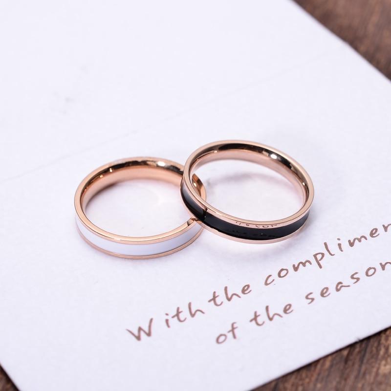 YUN RUO Rose Gold Farge Hvit Svart Keramisk Ring for Kvinne Mann Bryllup Smykker 316L Rustfritt Stål Ring Topp Kvalitet Forsvinner aldri