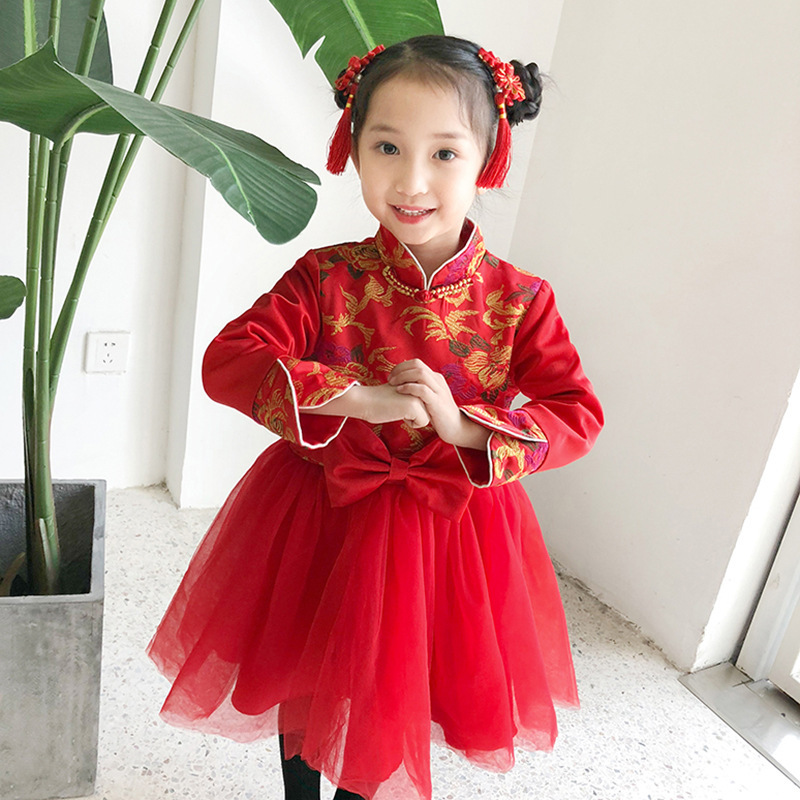 Baby Girl Newyear Clothing Chinese Style Heongsam Dress for Girls Kids Dresses Velvet Thick Warm Ball Gown Toddler Clothes 2 7Y