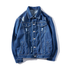 Otoño algodón Denim Jeans Casual chaquetas hombres abrigo suelto Distressed Ripped  moda masculina chaqueta Hip Hop ropa 420b32d6f81