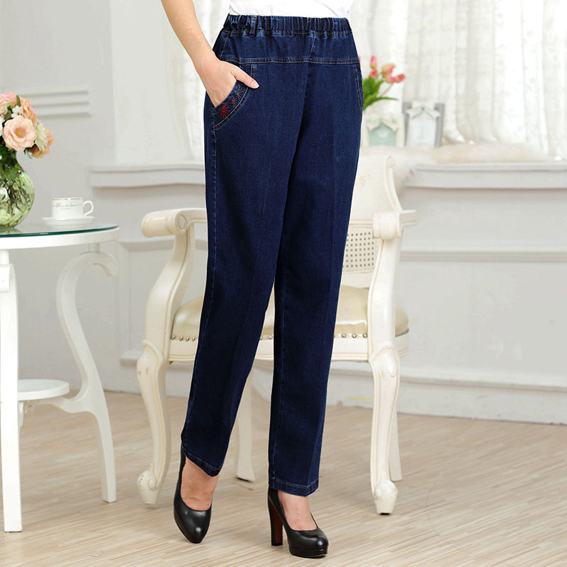 7xl 6xl 5xl 4xl 3xl plus size Middle-aged pants high waist elastic pants spring and autumn section straight jeans trousers P666 hot sale 2018 spring autumn middle aged women slim high waist stretch pencil pants female casual trousers plus size 5xl