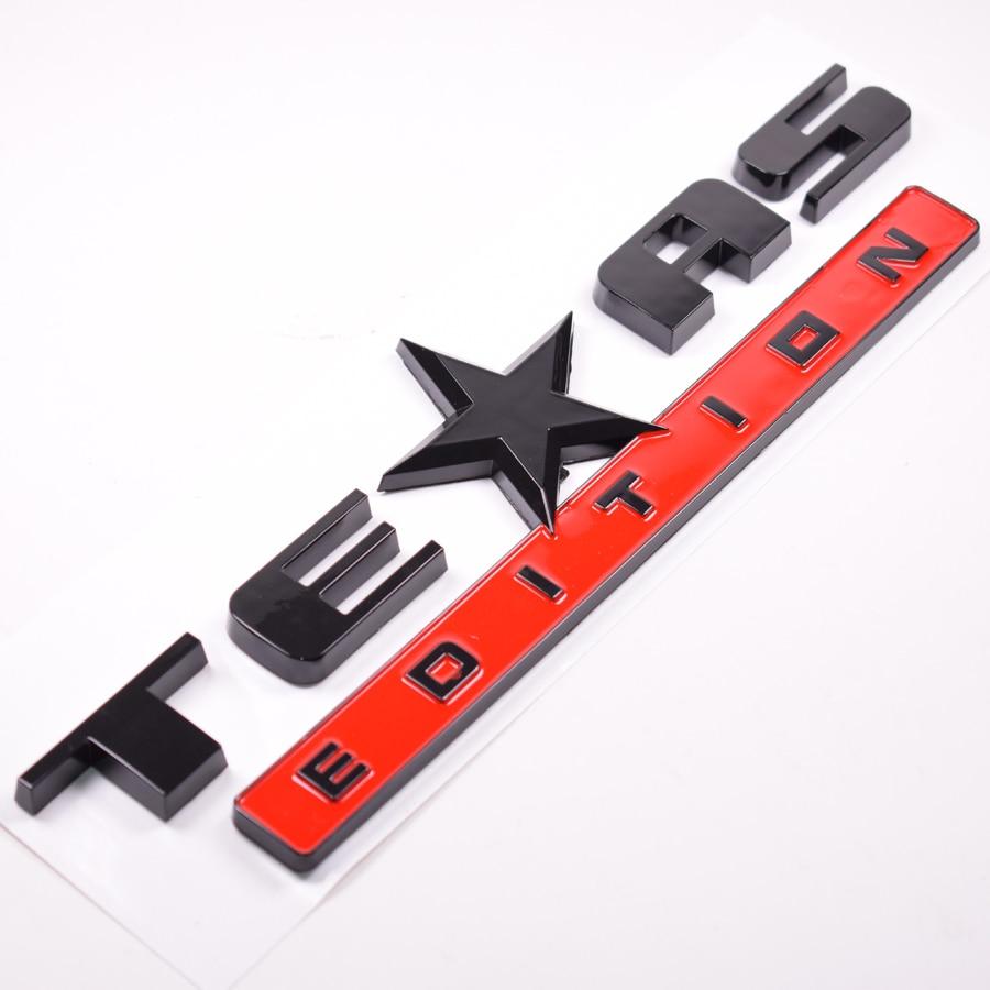 Yaquicka 3d red black car texas edition emblem badge decal sticker for chevrolet silverado gmc