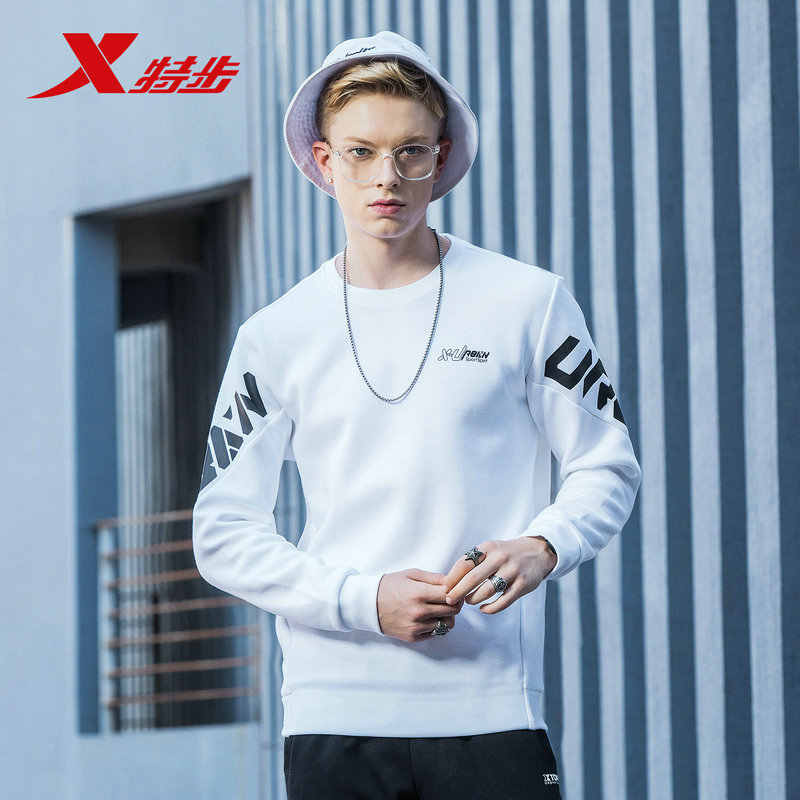 Xtep Men Hoodies Sweatshirts Sport 2019 Men Women Black Cotton Hoodie Male Winter Basic Hoodie 882429059402