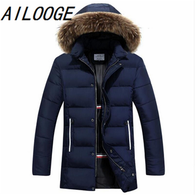 Raccoon Dog Fur Winter Warm Down Jacket 2016 New Men Thick Hooded Coat Long Mens Parka Jacket High Quality Brand 3 Color