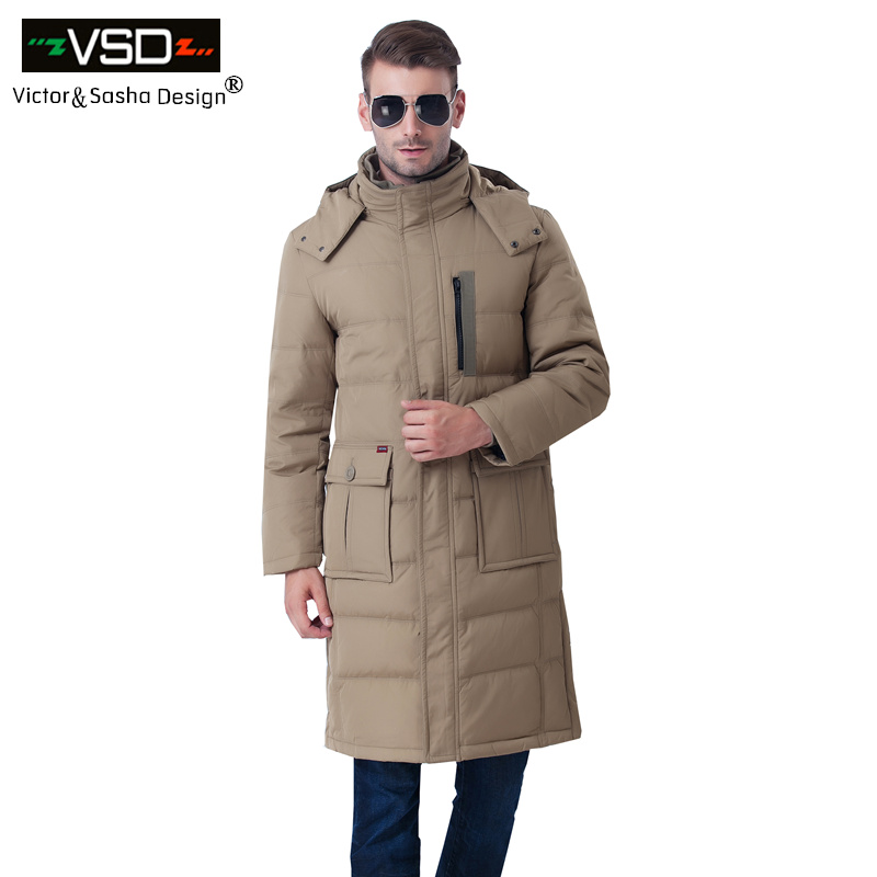 Victor&Sasha Design 2016New Brand-Clothing Jacket Fashion Thick Casual Lengthening Knee   Down     Coat   Long Winter Jacket Men's Parka