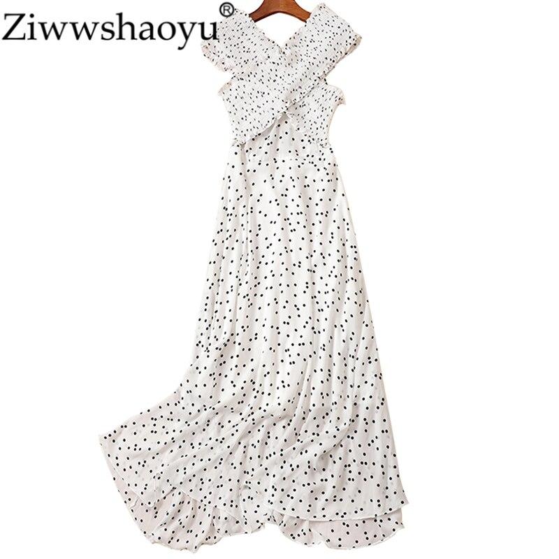 5e6caa439bade1d Ziwwshaoyu модные платья в горошек с v-образным вырезом и оборками  элегантные вечерние платья весна и лето новые женские