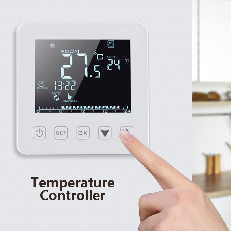 Temperature Controller Smart Thermostat Electric Heating HY08WE LCD Display Week Programmable Office Home Intelligent Durable