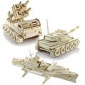 Kids Educational DIY 3D Puzzle Toys Wooden Assembly Warship,Tank and  Anti-aircraft missiles
