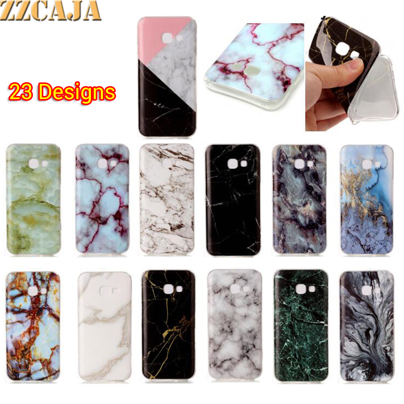ZZCAJA Soft TPU Smooth Cover For Samsung Galaxy A3 A5 2017 A320 A520 Case Mable Marble Griotte Granite Moorstone Jade Phone Skin