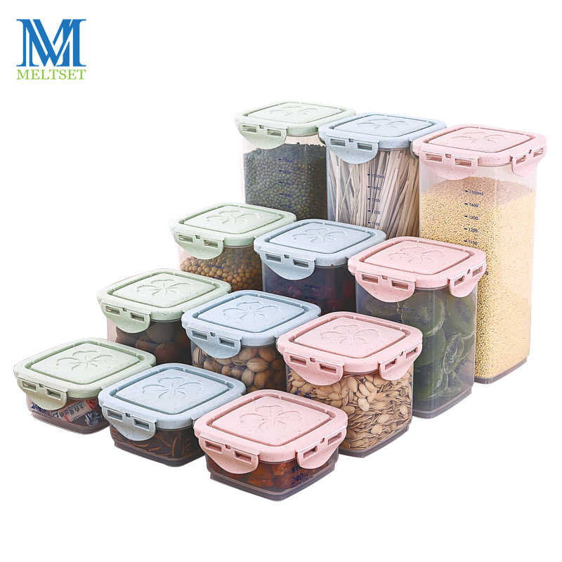 4 Sizes Transparent Kitchen Storage Box Household Plastic Spice Sealed Jars with Lid For Store Bean Nut Condiment Container