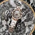 Classic Rose Gold Vrouwen Armband Horloges Zoete Hart Vorm Bloem Horloge Quartz Kristallen Spinning Steel Horloge GELUK Gift