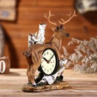 Retro Resin Deer Home Decor Kitchen Living Room Bedside Alarm Clock Watch Kids Room Bedside Clock Time