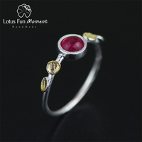 Lotus Fun Moment Real 925 Sterling Silver Natural Stone Handmade Creative Designer Fashion Jewelry Delicate Thin Female Rings