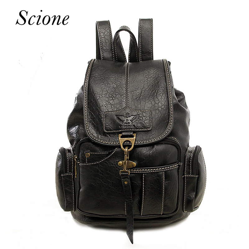 Hot Vintage Women Backpack School Bags for Teenage Girls Men Travel Backpack Shoulder Bag Leather Laptop Rucksack mochila 120194 2016new rucksack luxury backpack youth school bags for girls genuine leather black shoulder backpacks women bag mochila feminina