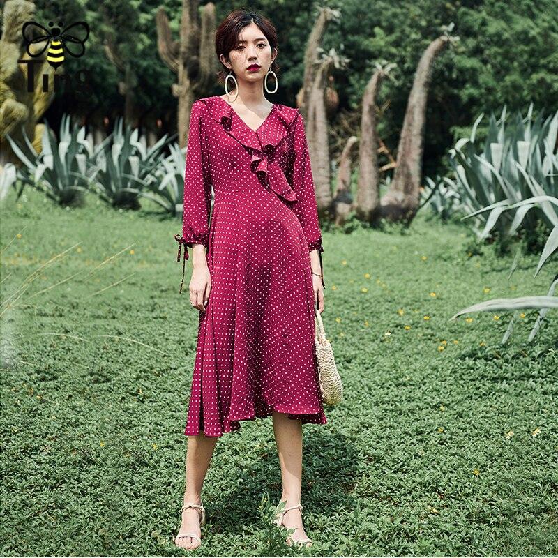 Tingfly New Fashion France Chic Elegant Vintage Polka Dot Print Midi Long  Dress Lady Ruffles Slim Herpburn Style Party Dresses -in Dresses from  Women s ... ebe22fbeb80c