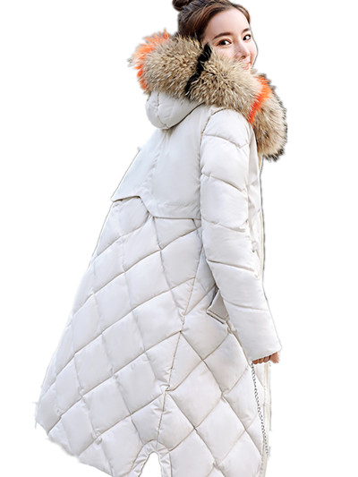 2018 winter women hooded coat fur collar thicken warm long jacket female plus size 3XL outerwear   parka   ladies tops