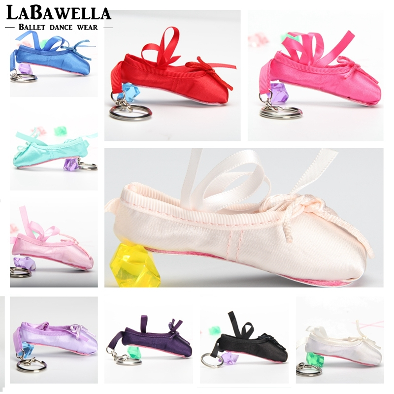 Kids Ballerina Mini Ballet Shoe Ballet Keychain  Gift Satin Pointe Shoes Key Ring Pink Dance Shoes Ballet Bag Charm Chain DT009