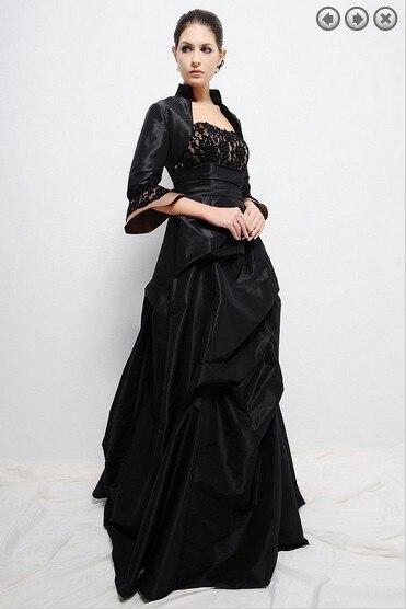 Taffeta Pleat Party Gown Vestido De Festa Renda 2018 New Fashion Black Long Evening Gown With Jacket Mother Of The Bride Dresses